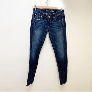 AEO skinny dark wash jeans size 0
